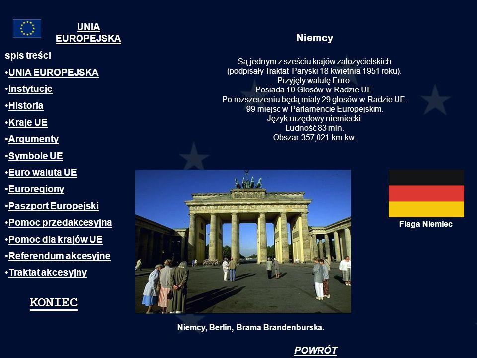 Niemcy Są jednym z sześciu krajów założycielskich (podpisały Traktat Paryski 18 kwietnia 1951 roku). Przyjęły walutę Euro. Posiada 10 Głosów w Radzie