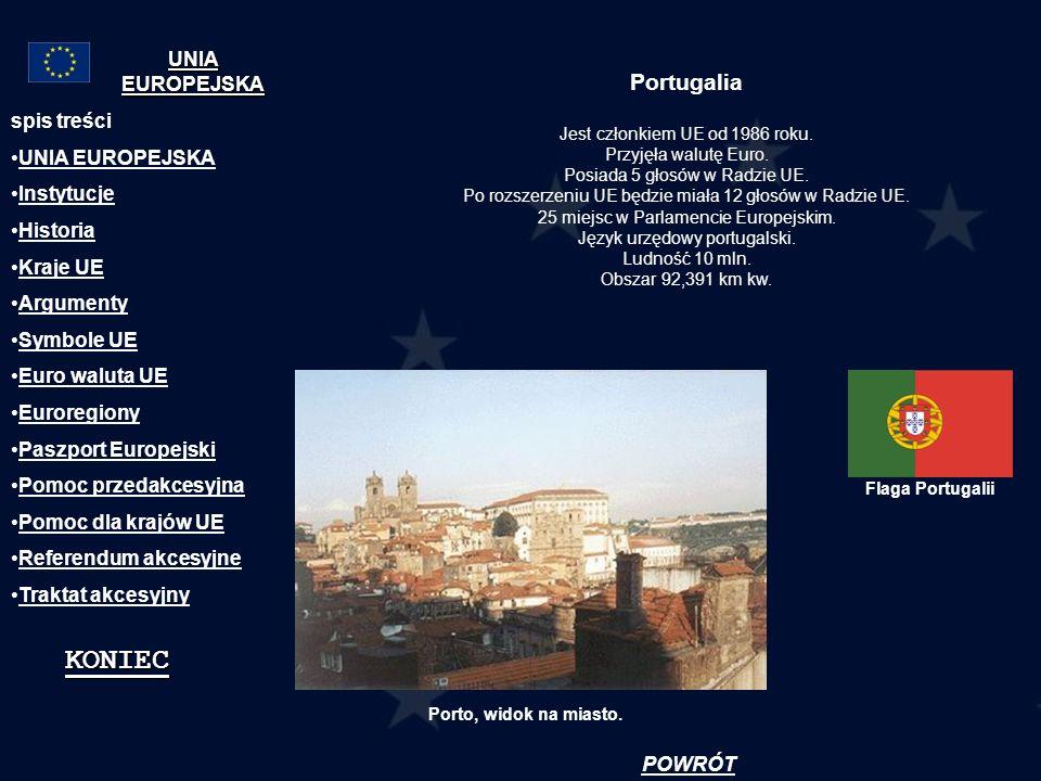 Portugalia Jest członkiem UE od 1986 roku. Przyjęła walutę Euro. Posiada 5 głosów w Radzie UE. Po rozszerzeniu UE będzie miała 12 głosów w Radzie UE.