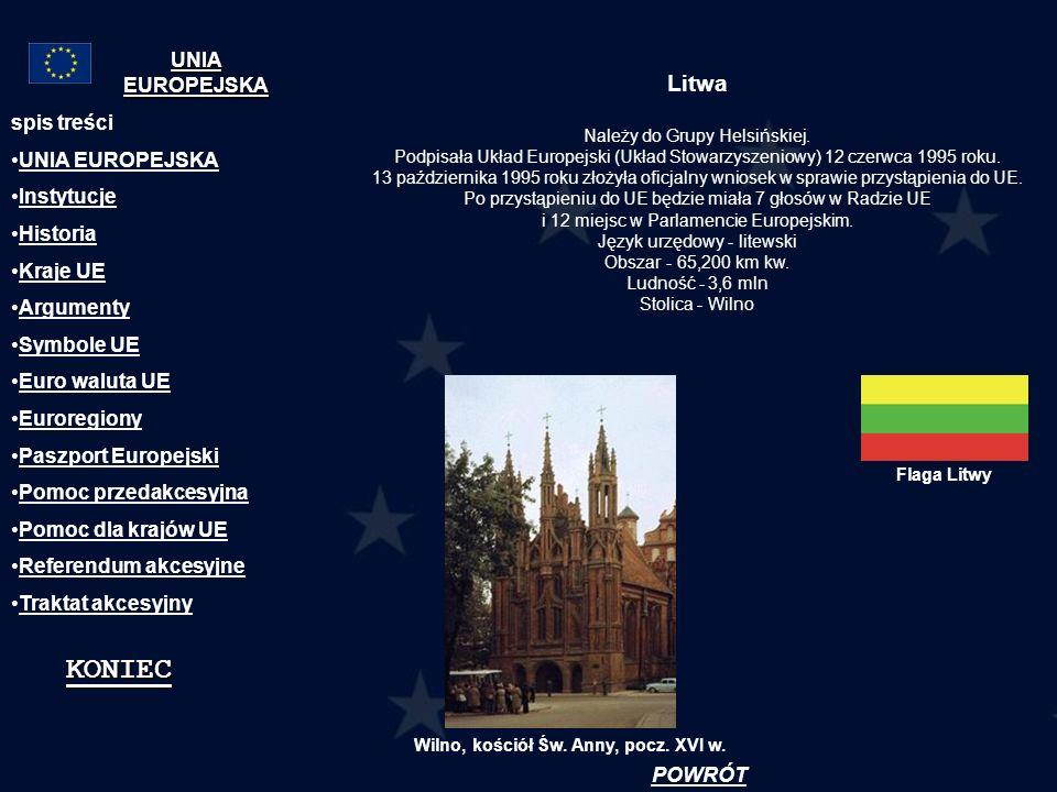 Litwa Należy do Grupy Helsińskiej. Podpisała Układ Europejski (Układ Stowarzyszeniowy) 12 czerwca 1995 roku. 13 października 1995 roku złożyła oficjal