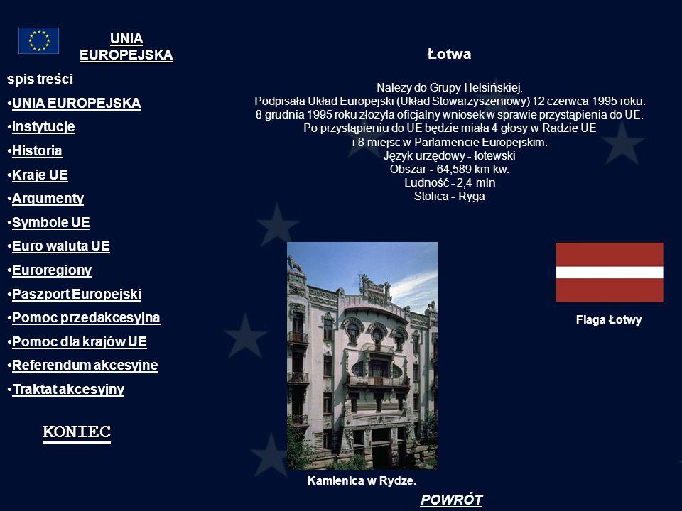 Łotwa Należy do Grupy Helsińskiej. Podpisała Układ Europejski (Układ Stowarzyszeniowy) 12 czerwca 1995 roku. 8 grudnia 1995 roku złożyła oficjalny wni