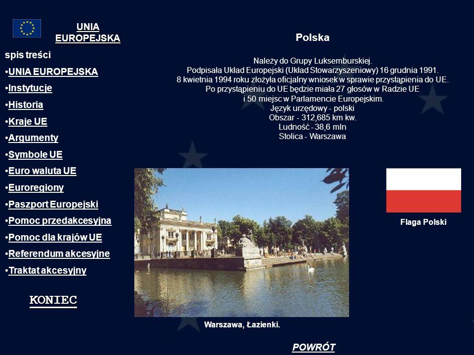 Polska Należy do Grupy Luksemburskiej. Podpisała Układ Europejski (Układ Stowarzyszeniowy) 16 grudnia 1991. 8 kwietnia 1994 roku złożyła oficjalny wni