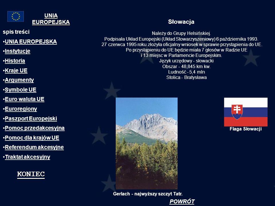 Słowacja Należy do Grupy Helsińskiej. Podpisała Układ Europejski (Układ Stowarzyszeniowy) 6 października 1993. 27 czerwca 1995 roku złożyła oficjalny