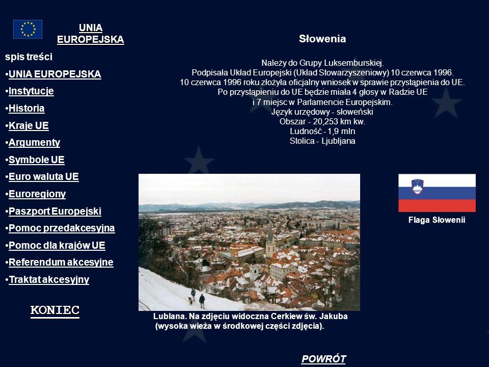 Słowenia Należy do Grupy Luksemburskiej. Podpisała Układ Europejski (Układ Stowarzyszeniowy) 10 czerwca 1996. 10 czerwca 1996 roku złożyła oficjalny w