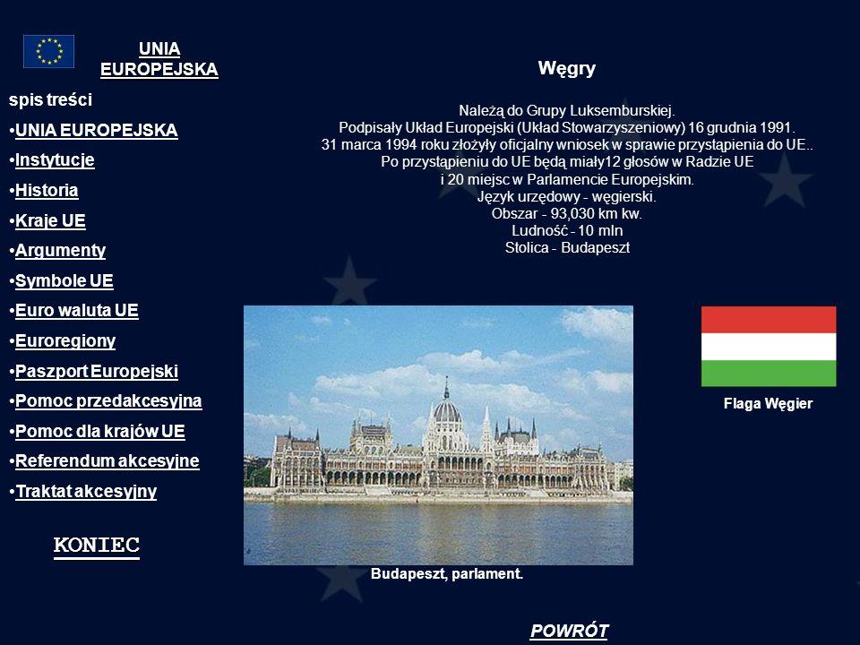Węgry Należą do Grupy Luksemburskiej. Podpisały Układ Europejski (Układ Stowarzyszeniowy) 16 grudnia 1991. 31 marca 1994 roku złożyły oficjalny wniose