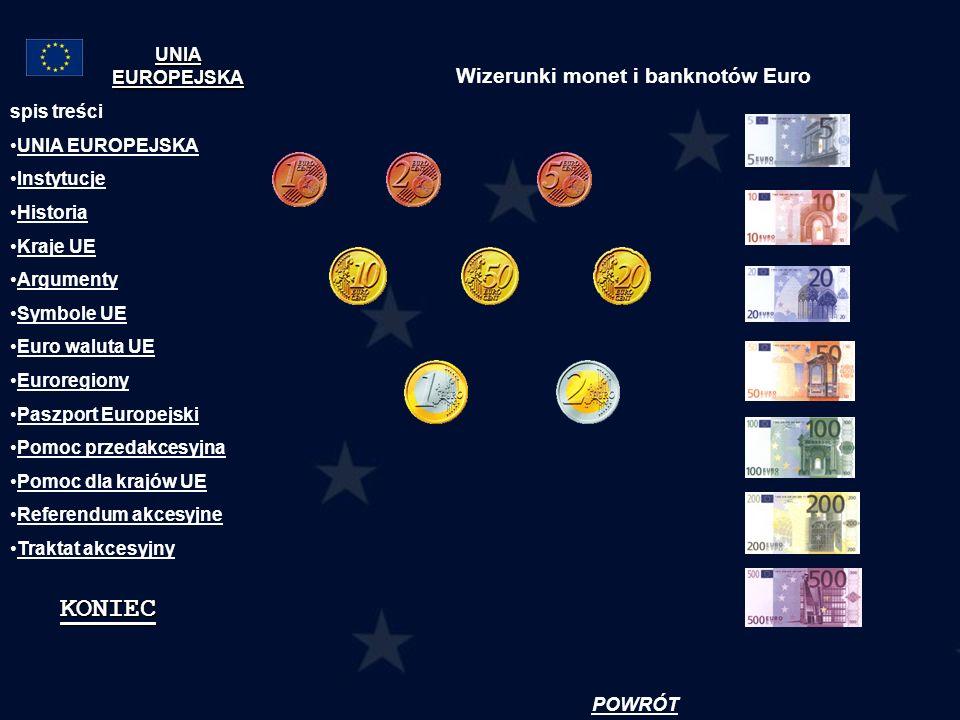 Wizerunki monet i banknotów Euro spis treści UNIA EUROPEJSKA Instytucje Historia Kraje UE Argumenty Symbole UE Euro waluta UE Euroregiony Paszport Eur