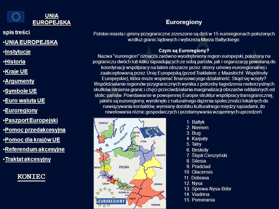 Euroregiony Polskie miasta i gminy przygraniczne zrzeszone są dziś w 15 euroregionach położonych wzdłuż granic lądowych i wybrzeża Morza Bałtyckiego.