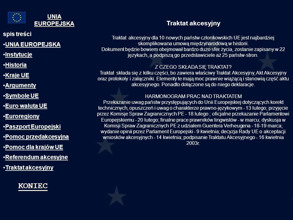 Traktat akcesyjny Traktat akcesyjny dla 10 nowych państw członkowskich UE jest najbardziej skomplikowana umową międzynarodową w historii. Dokument będ
