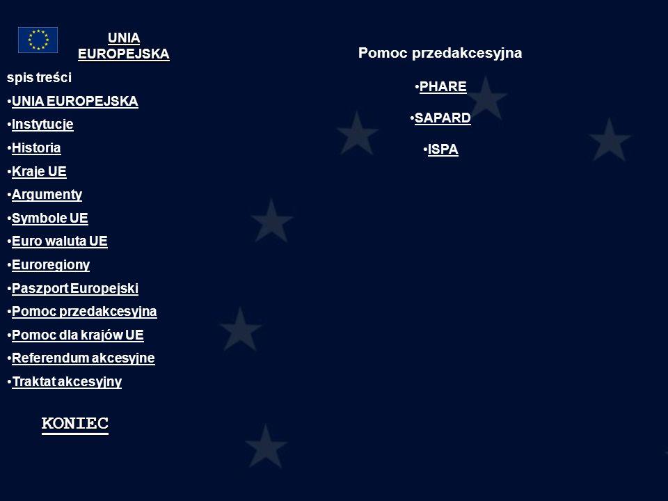 Pomoc przedakcesyjna PHARE SAPARD ISPA spis treści UNIA EUROPEJSKA Instytucje Historia Kraje UE Argumenty Symbole UE Euro waluta UE Euroregiony Paszpo