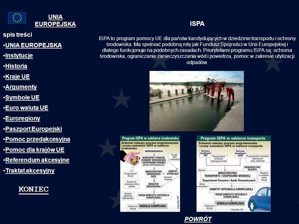ISPA ISPA to program pomocy UE dla państw kandydujących w dziedzinie transportu i ochrony środowiska. Ma spełniać podobną rolę jak Fundusz Spójności w