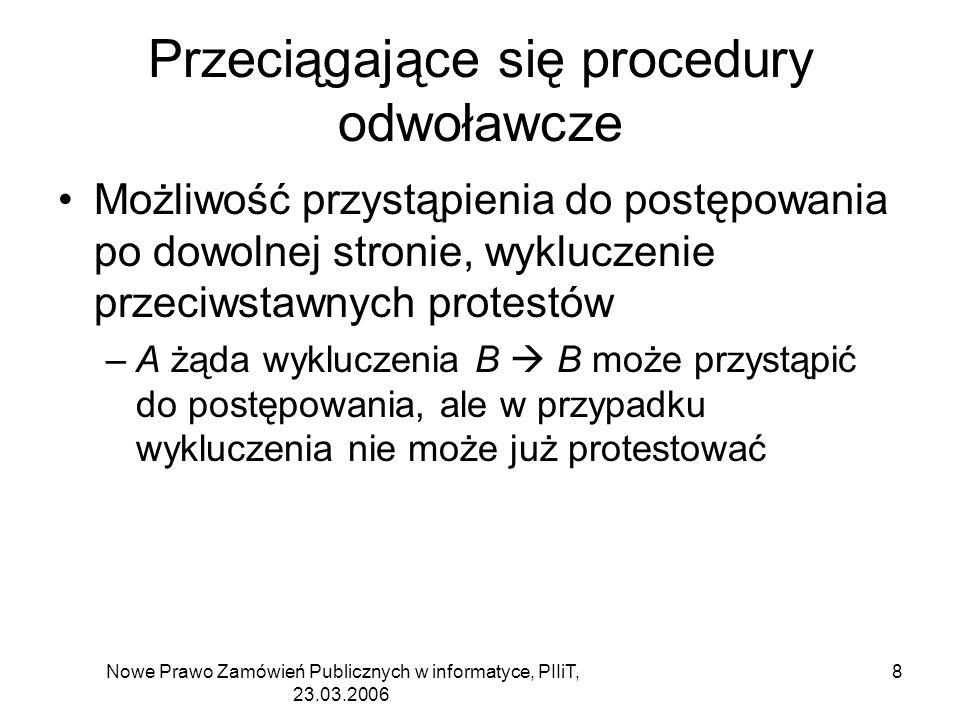 Nowe Prawo Zamówień Publicznych w informatyce, PIIiT, 23.03.2006 8 Przeciągające się procedury odwoławcze Możliwość przystąpienia do postępowania po d
