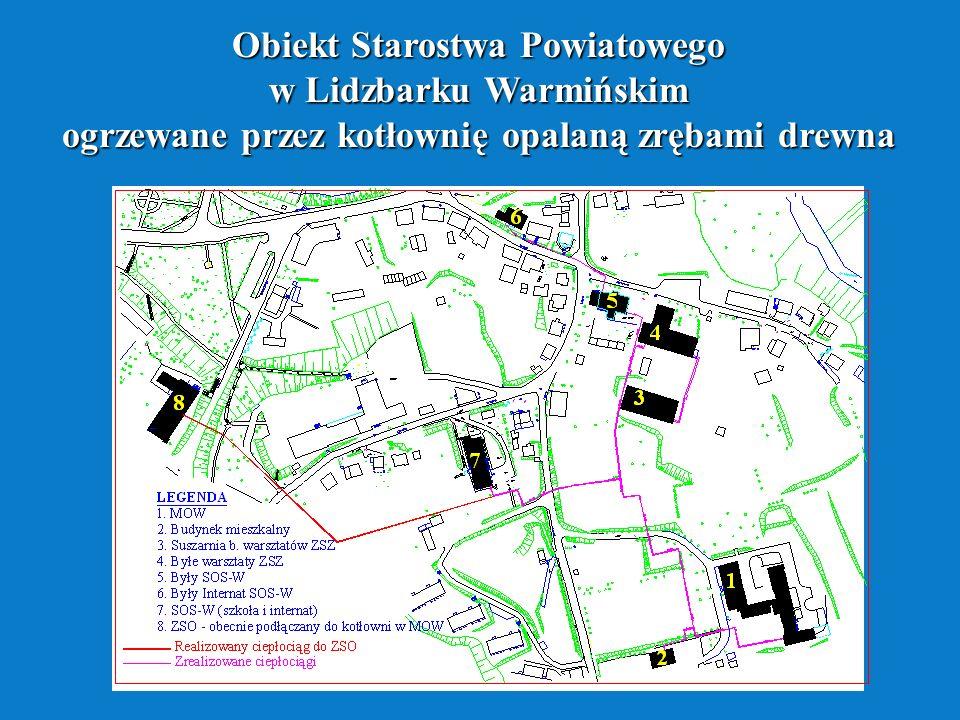 Obiekt Starostwa Powiatowego w Lidzbarku Warmińskim ogrzewane przez kotłownię opalaną zrębami drewna
