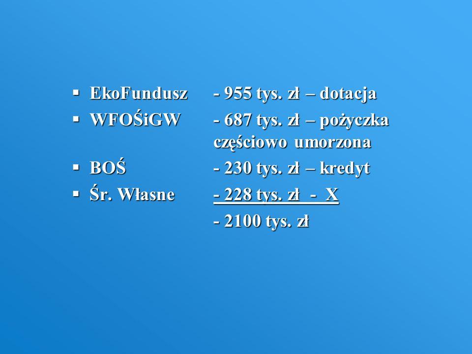 EkoFundusz- 955 tys. zł – dotacja EkoFundusz- 955 tys. zł – dotacja WFOŚiGW- 687 tys. zł – pożyczka częściowo umorzona WFOŚiGW- 687 tys. zł – pożyczka