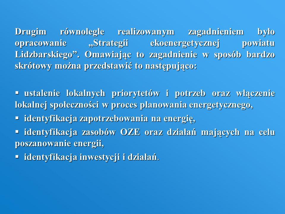 Drugim równolegle realizowanym zagadnieniem było opracowanie Strategii ekoenergetycznej powiatu Lidzbarskiego. Omawiając to zagadnienie w sposób bardz