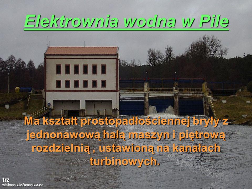 Elektrownia wodna w Pile Ma kształt prostopadłościennej bryły z jednonawową halą maszyn i piętrową rozdzielnią, ustawioną na kanałach turbinowych. Ma