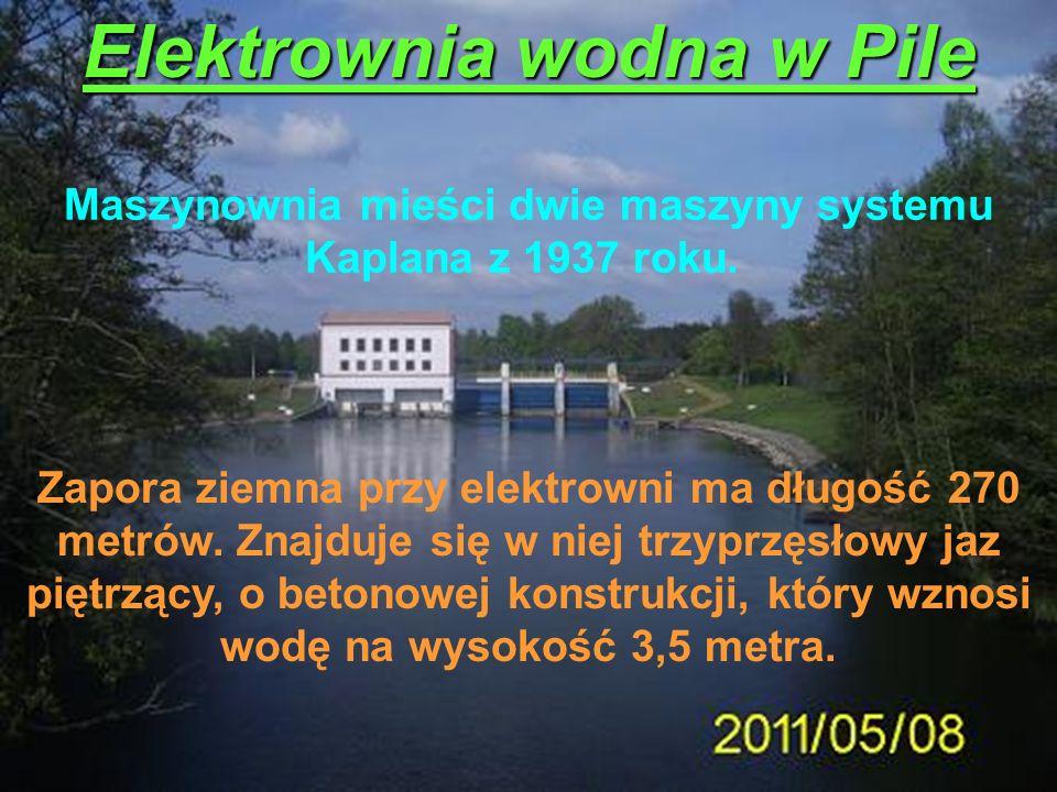 Elektrownia wodna w Pile Maszynownia mieści dwie maszyny systemu Kaplana z 1937 roku. Zapora ziemna przy elektrowni ma długość 270 metrów. Znajduje si