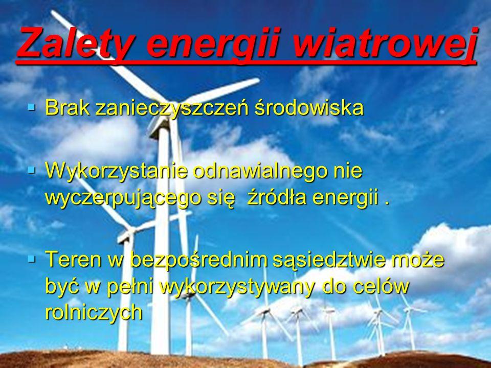 Zalety energii wiatrowej Brak zanieczyszczeń środowiska Brak zanieczyszczeń środowiska Wykorzystanie odnawialnego nie wyczerpującego się źródła energi