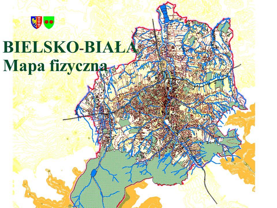 BIELSKO - BIAŁA Mapa fizyczna