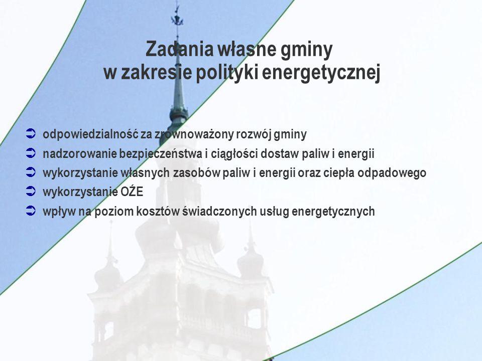 Ü odpowiedzialność za zrównoważony rozwój gminy Ü nadzorowanie bezpieczeństwa i ciągłości dostaw paliw i energii Ü wykorzystanie własnych zasobów paliw i energii oraz ciepła odpadowego Ü wykorzystanie OŹE Ü wpływ na poziom kosztów świadczonych usług energetycznych Zadania własne gminy w zakresie polityki energetycznej