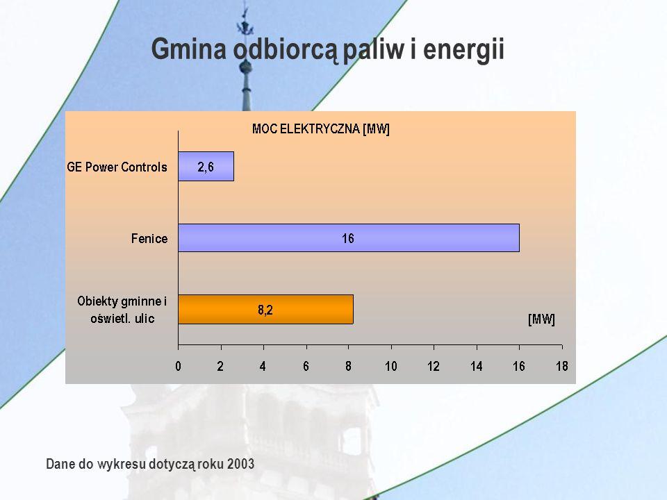 Gmina odbiorcą paliw i energii Dane do wykresu dotyczą roku 2003