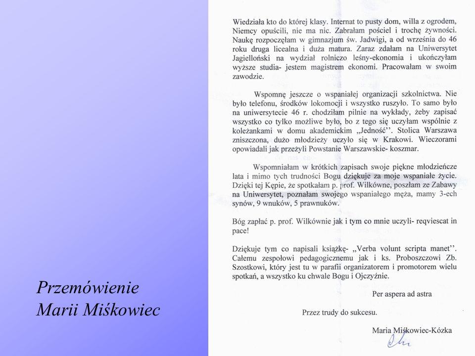Przemówienie Marii Miśkowiec