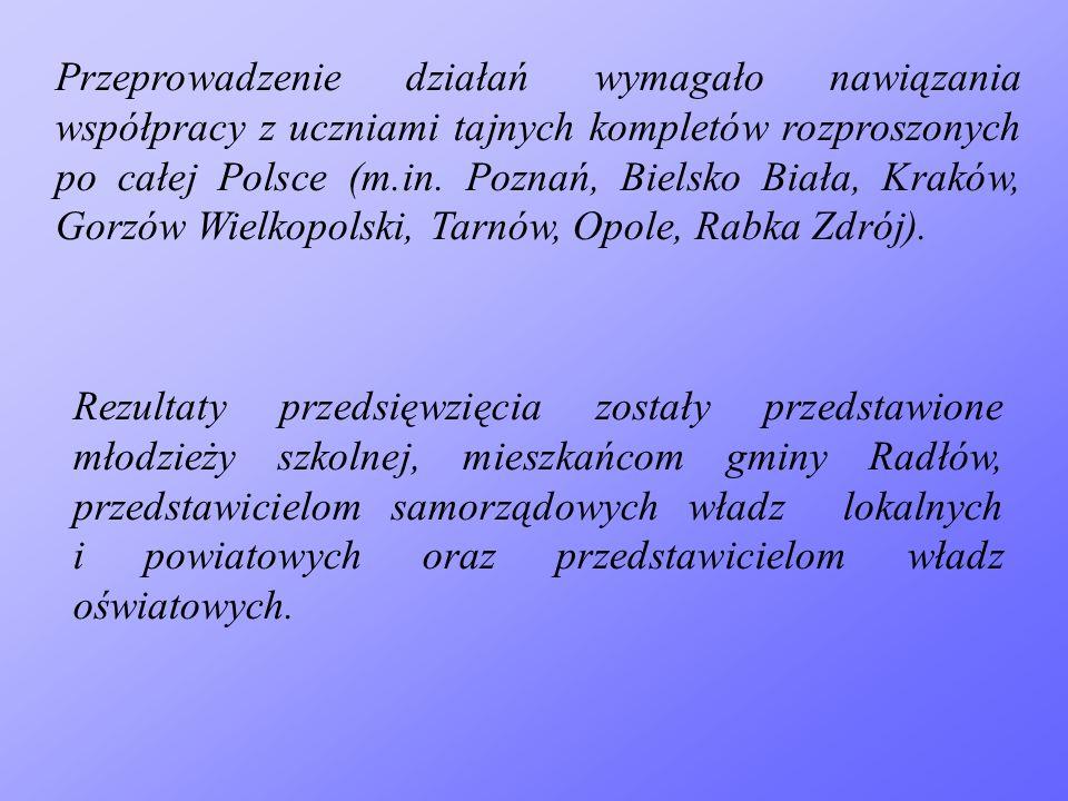 Przeprowadzenie działań wymagało nawiązania współpracy z uczniami tajnych kompletów rozproszonych po całej Polsce (m.in. Poznań, Bielsko Biała, Kraków