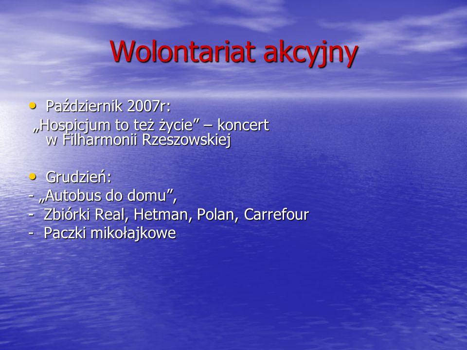 Wolontariat akcyjny Październik 2007r: Październik 2007r: Hospicjum to też życie – koncert w Filharmonii Rzeszowskiej Hospicjum to też życie – koncert