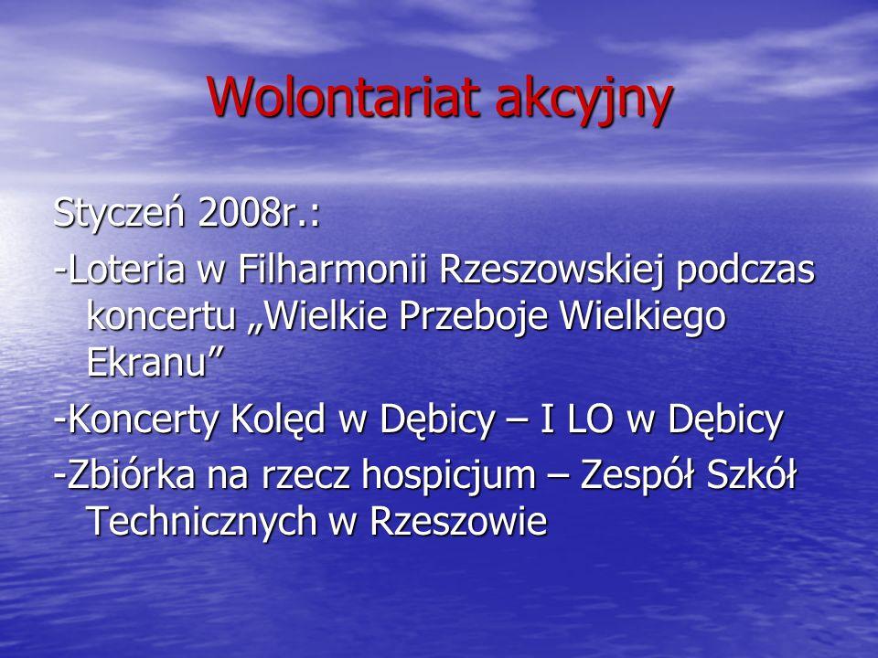 Wolontariat akcyjny Styczeń 2008r.: -Loteria w Filharmonii Rzeszowskiej podczas koncertu Wielkie Przeboje Wielkiego Ekranu -Koncerty Kolęd w Dębicy –