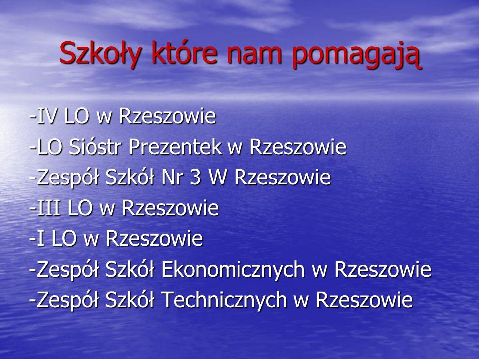 Szkoły które nam pomagają -IV LO w Rzeszowie -LO Sióstr Prezentek w Rzeszowie -Zespół Szkół Nr 3 W Rzeszowie -III LO w Rzeszowie -I LO w Rzeszowie -Ze