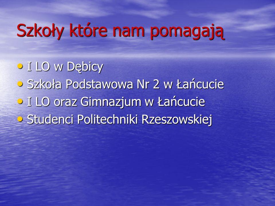 Szkoły które nam pomagają I LO w Dębicy I LO w Dębicy Szkoła Podstawowa Nr 2 w Łańcucie Szkoła Podstawowa Nr 2 w Łańcucie I LO oraz Gimnazjum w Łańcuc