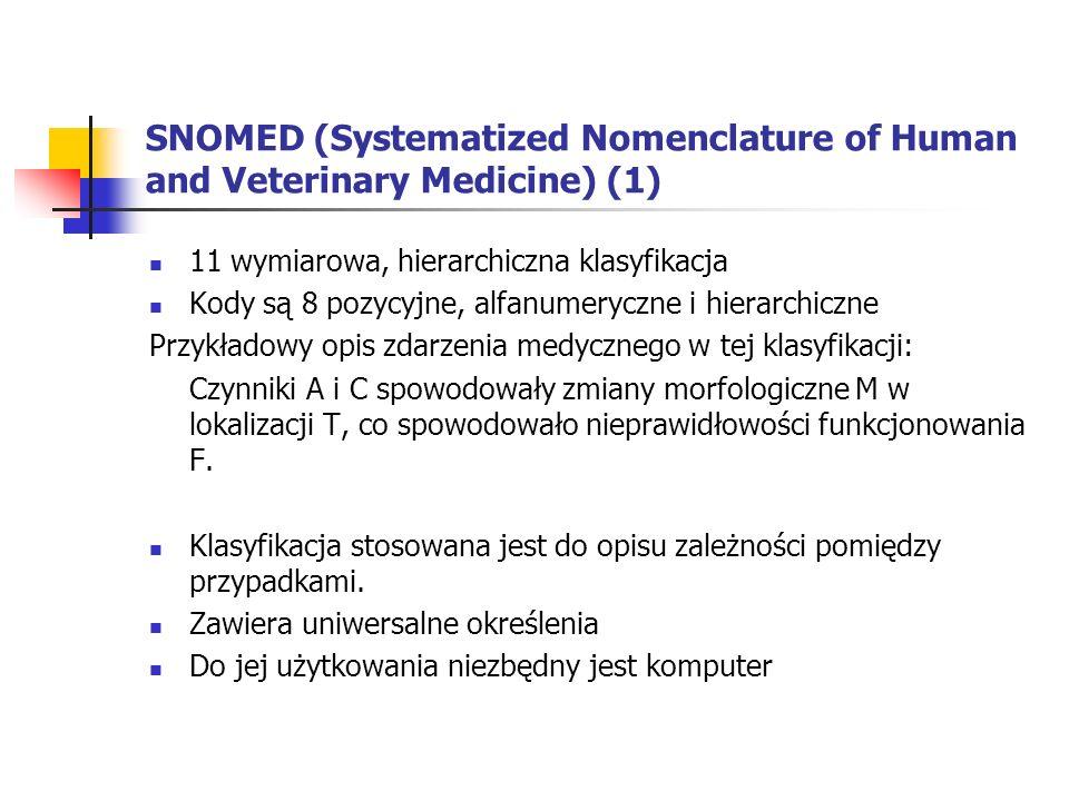 SNOMED (Systematized Nomenclature of Human and Veterinary Medicine) (1) 11 wymiarowa, hierarchiczna klasyfikacja Kody są 8 pozycyjne, alfanumeryczne i