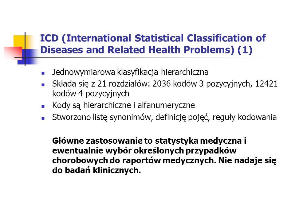 ICD (International Statistical Classification of Diseases and Related Health Problems) (1) Jednowymiarowa klasyfikacja hierarchiczna Składa się z 21 r