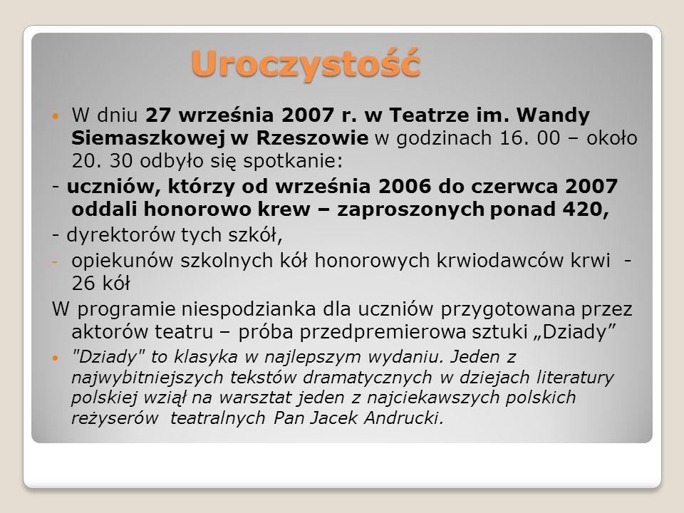 Uroczystość W dniu 27 września 2007 r. w Teatrze im. Wandy Siemaszkowej w Rzeszowie w godzinach 16. 00 – około 20. 30 odbyło się spotkanie: - uczniów,