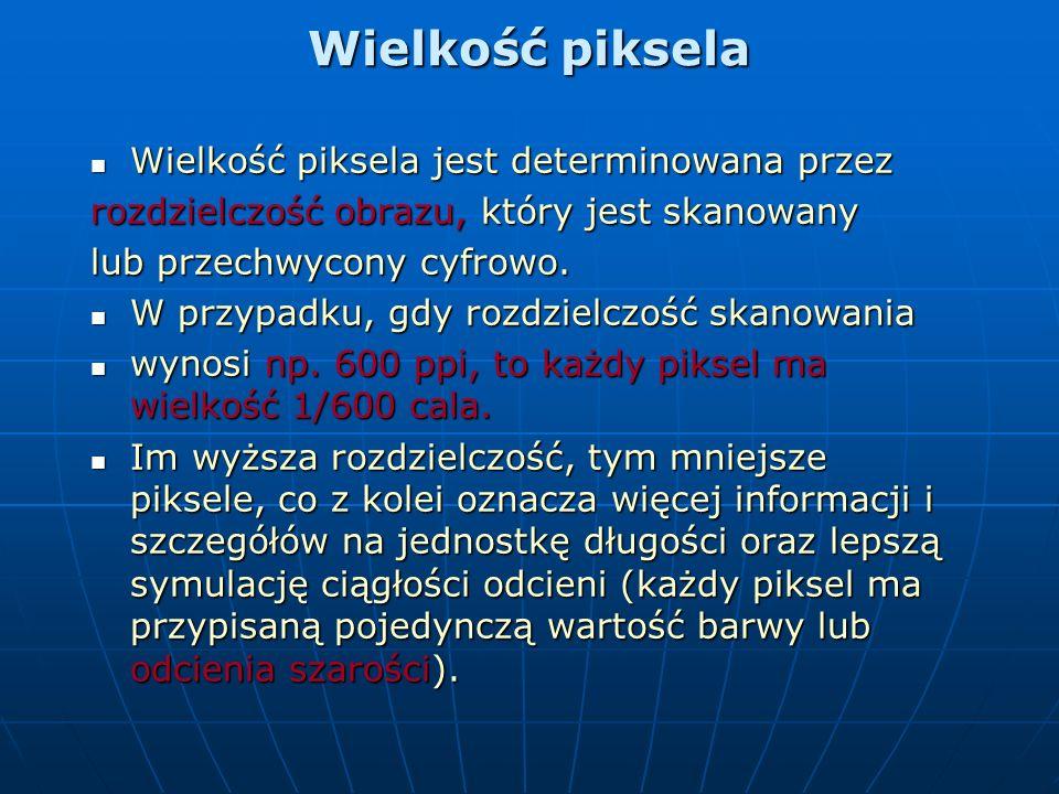 Rozdzielczość - piksele Wszystkie wymienione zastosowania pojęcia Wszystkie wymienione zastosowania pojęcia rozdzielczość są powiązane z ilością lub g