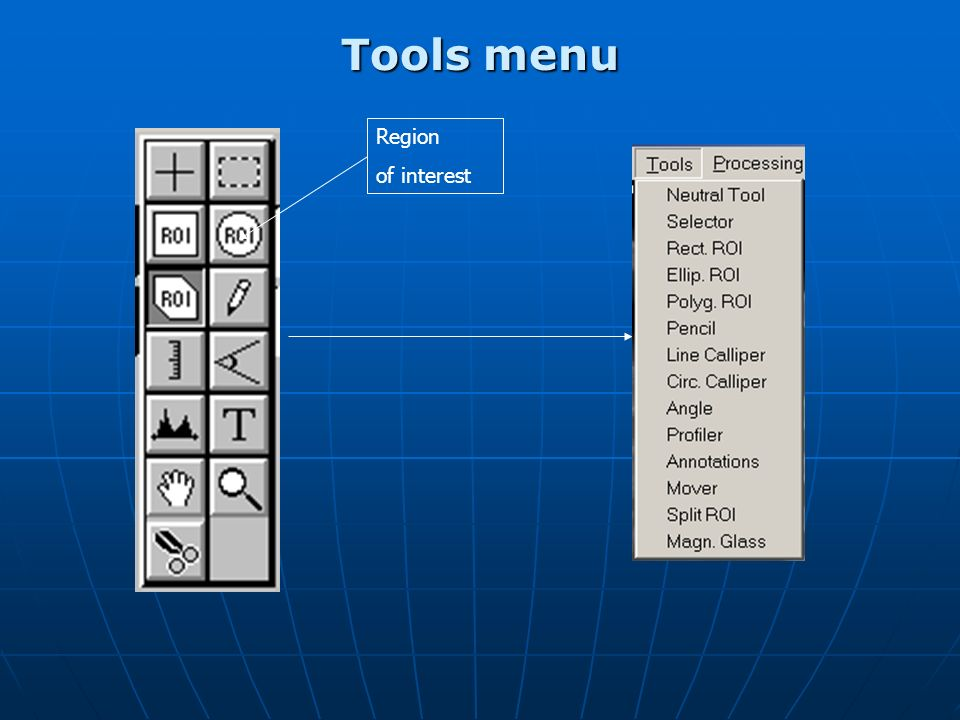 Tools menu Calliper allows distance measurements to be made between two points.