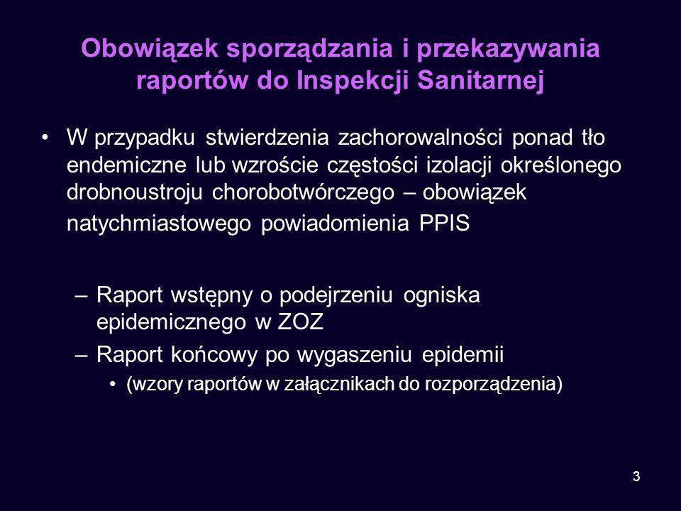 3 Obowiązek sporządzania i przekazywania raportów do Inspekcji Sanitarnej W przypadku stwierdzenia zachorowalności ponad tło endemiczne lub wzroście c