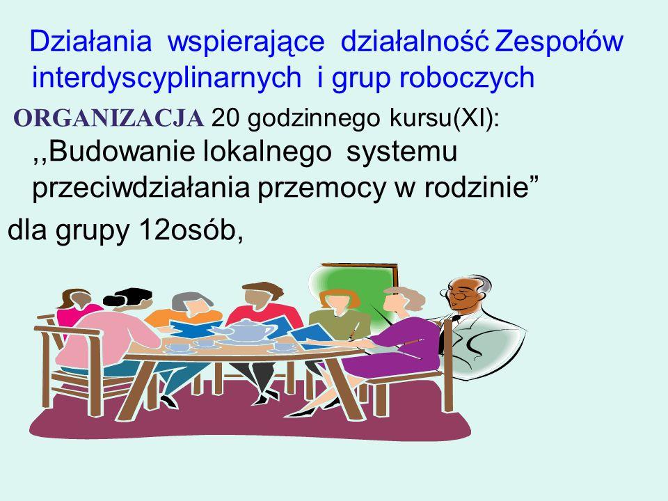 Działania wspierające działalność Zespołów interdyscyplinarnych i grup roboczych ORGANIZACJA 20 godzinnego kursu(XI):,,Budowanie lokalnego systemu prz