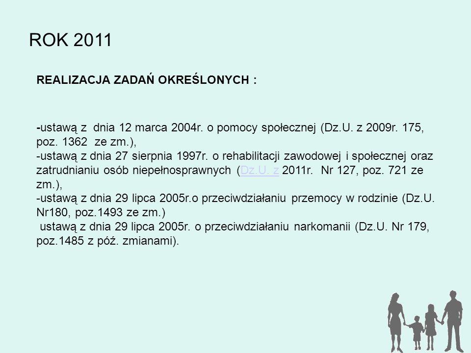 ROK 2011 REALIZACJA ZADAŃ OKREŚLONYCH : -ustawą z dnia 12 marca 2004r. o pomocy społecznej (Dz.U. z 2009r. 175, poz. 1362 ze zm.), -ustawą z dnia 27 s