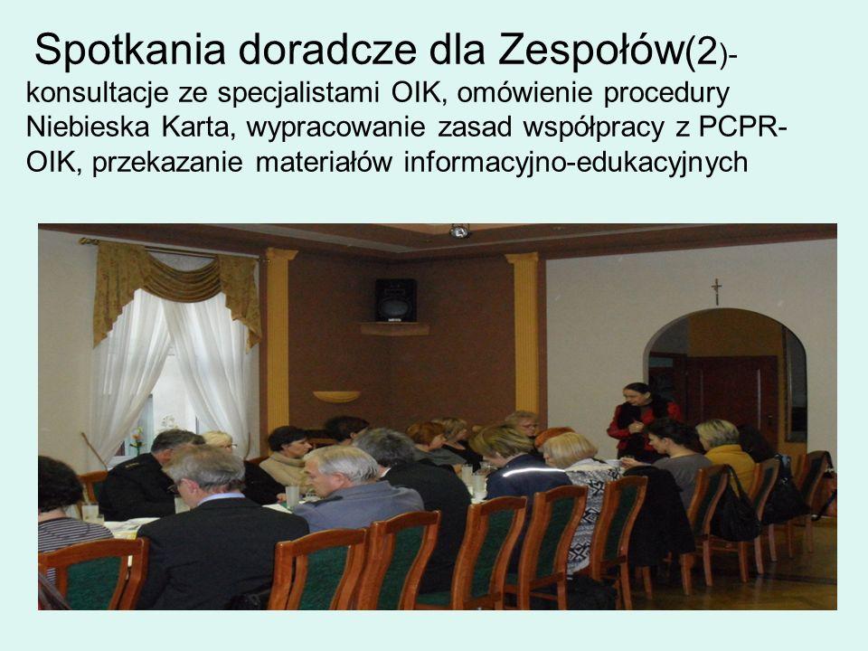 Spotkania doradcze dla Zespołów (2 )- konsultacje ze specjalistami OIK, omówienie procedury Niebieska Karta, wypracowanie zasad współpracy z PCPR- OIK