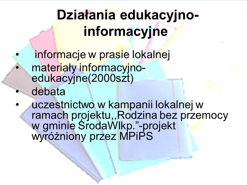 Działania edukacyjno- informacyjne informacje w prasie lokalnej materiały informacyjno- edukacyjne(2000szt) debata uczestnictwo w kampanii lokalnej w