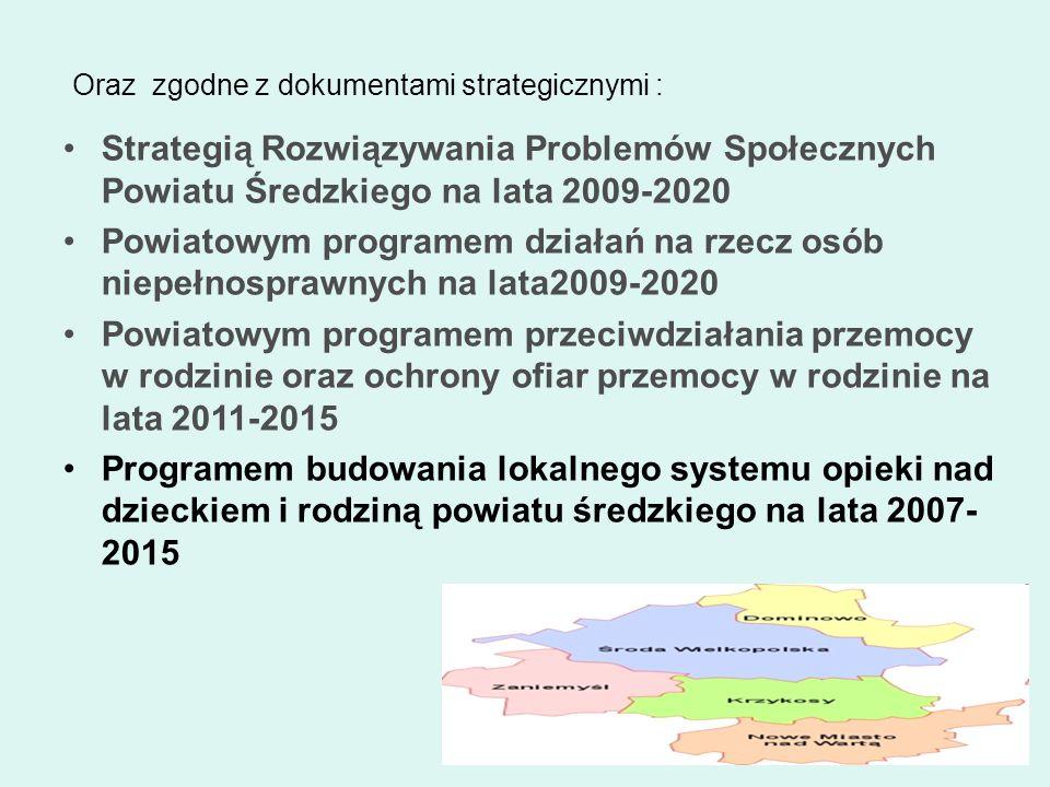 Oraz zgodne z dokumentami strategicznymi : Strategią Rozwiązywania Problemów Społecznych Powiatu Średzkiego na lata 2009-2020 Powiatowym programem dzi