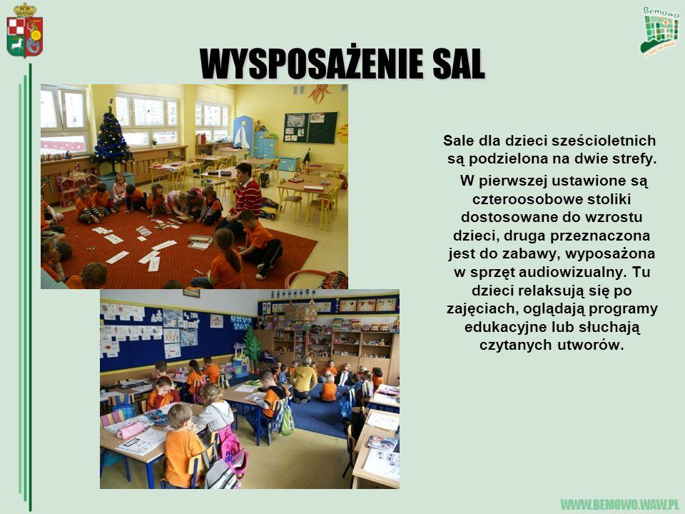 WYSPOSAŻENIE SAL Sale dla dzieci sześcioletnich są podzielona na dwie strefy. W pierwszej ustawione są czteroosobowe stoliki dostosowane do wzrostu dz
