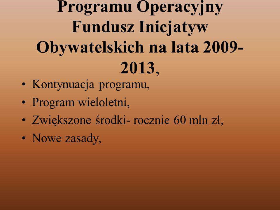 Programu Operacyjny Fundusz Inicjatyw Obywatelskich na lata 2009- 2013, Kontynuacja programu, Program wieloletni, Zwiększone środki- rocznie 60 mln zł