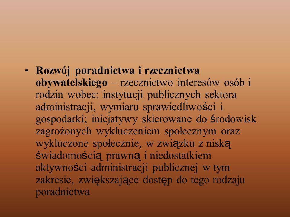 Rozwój poradnictwa i rzecznictwa obywatelskiego – rzecznictwo interesów osób i rodzin wobec: instytucji publicznych sektora administracji, wymiaru spr