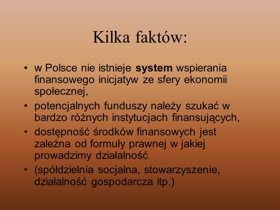 Kilka faktów: w Polsce nie istnieje system wspierania finansowego inicjatyw ze sfery ekonomii społecznej, potencjalnych funduszy należy szukać w bardz