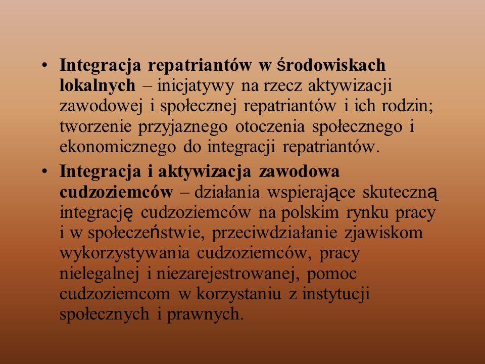 Integracja repatriantów w ś rodowiskach lokalnych – inicjatywy na rzecz aktywizacji zawodowej i społecznej repatriantów i ich rodzin; tworzenie przyja
