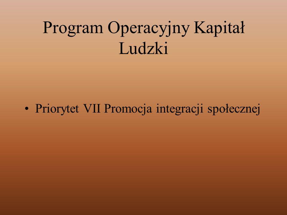 Program Operacyjny Kapitał Ludzki Priorytet VII Promocja integracji społecznej
