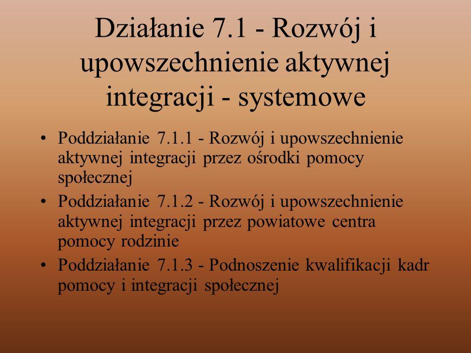 Działanie 7.1 - Rozwój i upowszechnienie aktywnej integracji - systemowe Poddziałanie 7.1.1 - Rozwój i upowszechnienie aktywnej integracji przez ośrod