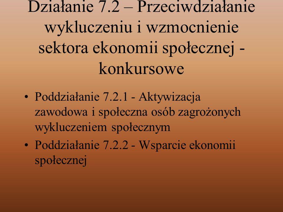 Działanie 7.2 – Przeciwdziałanie wykluczeniu i wzmocnienie sektora ekonomii społecznej - konkursowe Poddziałanie 7.2.1 - Aktywizacja zawodowa i społec