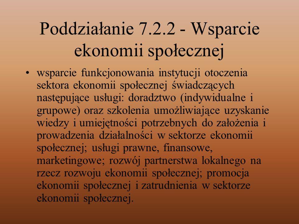 Poddziałanie 7.2.2 - Wsparcie ekonomii społecznej wsparcie funkcjonowania instytucji otoczenia sektora ekonomii społecznej świadczących następujące us