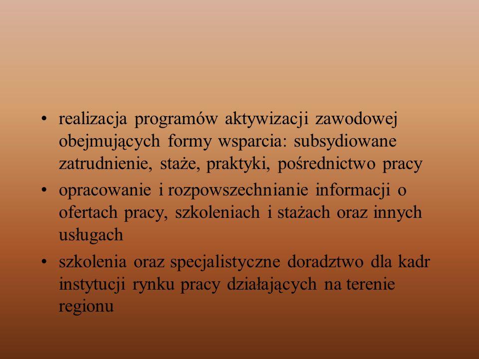 realizacja programów aktywizacji zawodowej obejmujących formy wsparcia: subsydiowane zatrudnienie, staże, praktyki, pośrednictwo pracy opracowanie i r